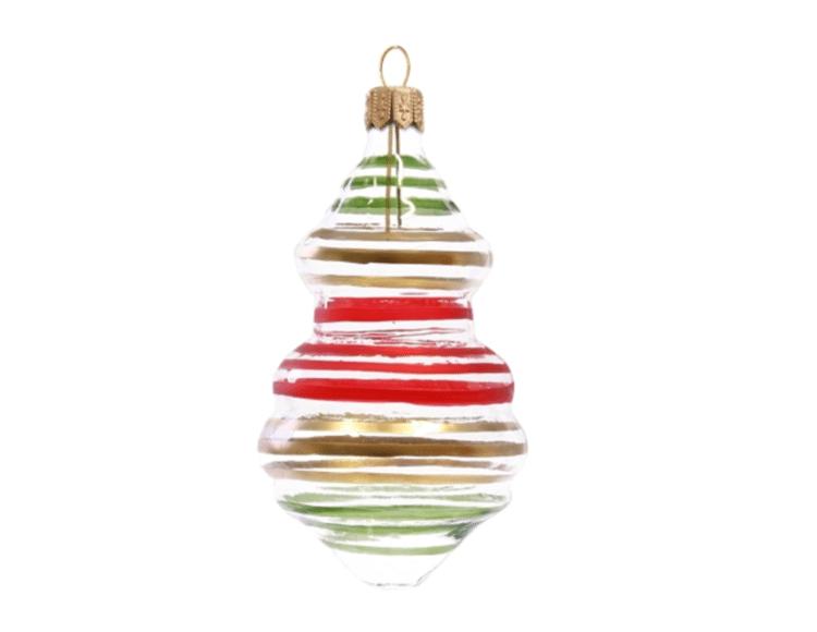 boule de noel rayée colorée made in europe artisanal verre
