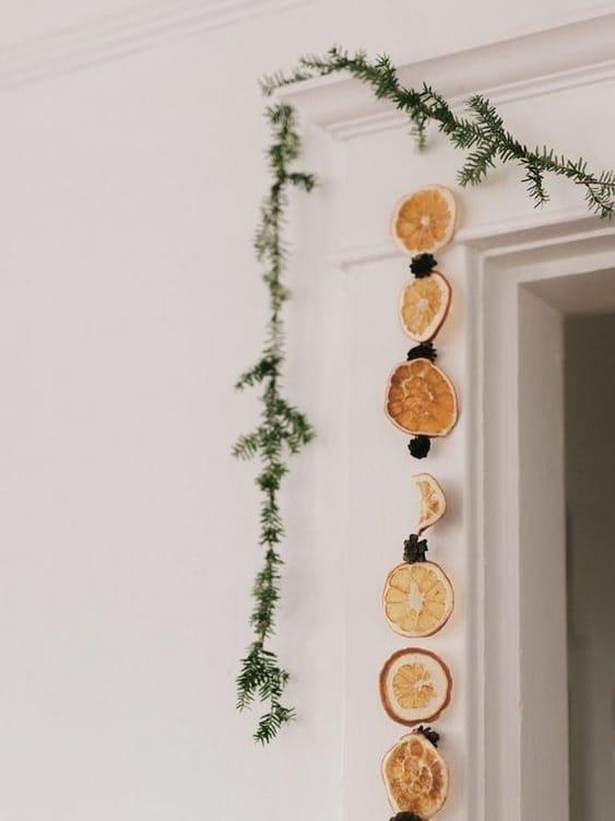 guirlande de noel orange vegetal naturel zero dechet simple