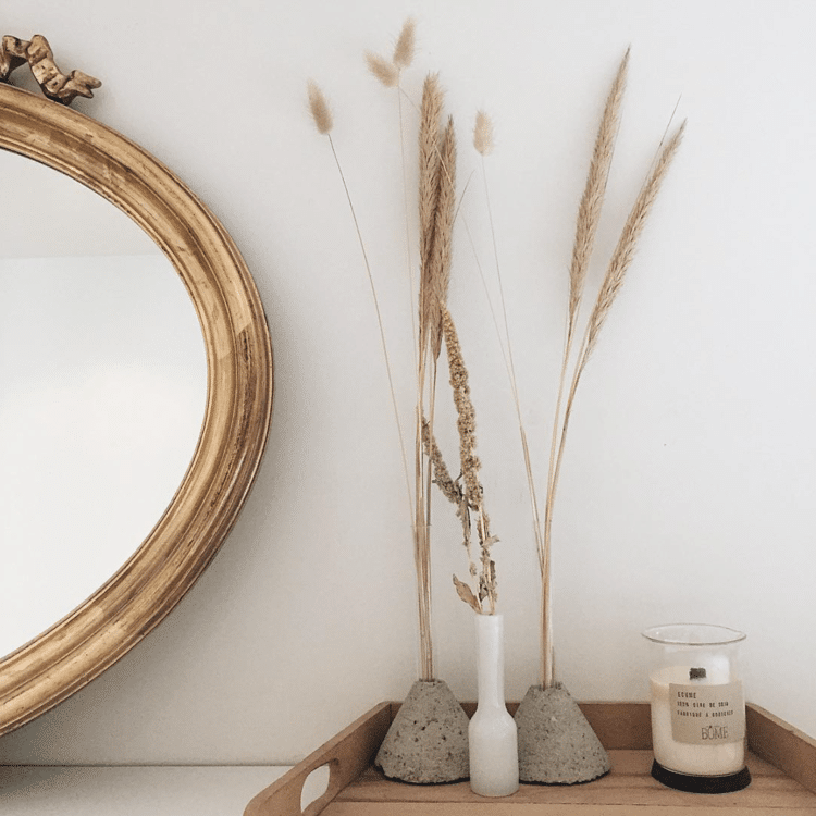 miroir chine bougie herbes seches kinfolk