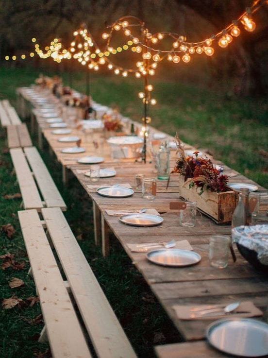 table de mariage deco de esprit guinguette cabane