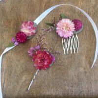 pinces cheveux fleurs séchées écologiques éco-responsables locales mariage