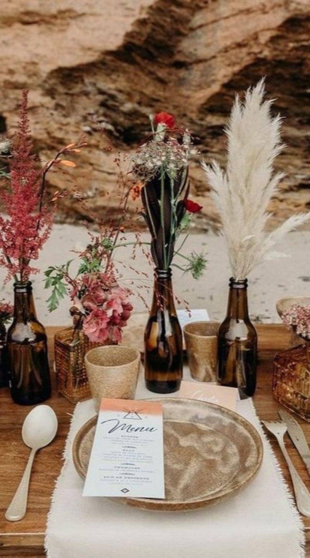 decoration table de mariage fleurs séchees artisanat écologique